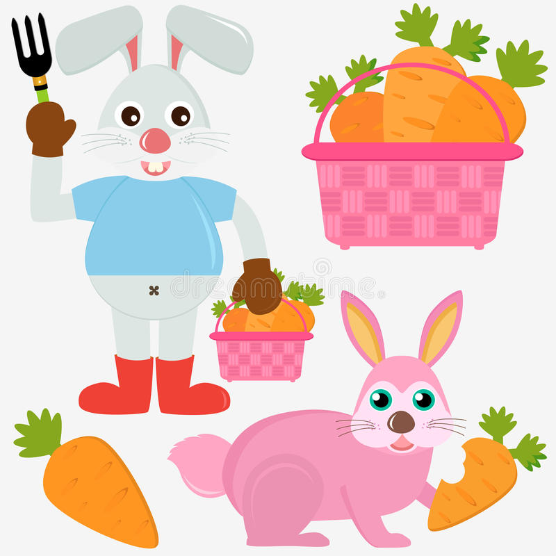Animal Vector Icons : Rabbit Bunny with Carrots vector illustration