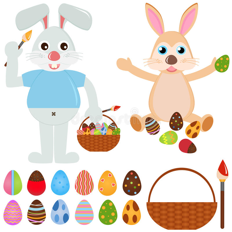 Animal Vector Icons : Rabbit Bunny with Easter Egg vector illustration