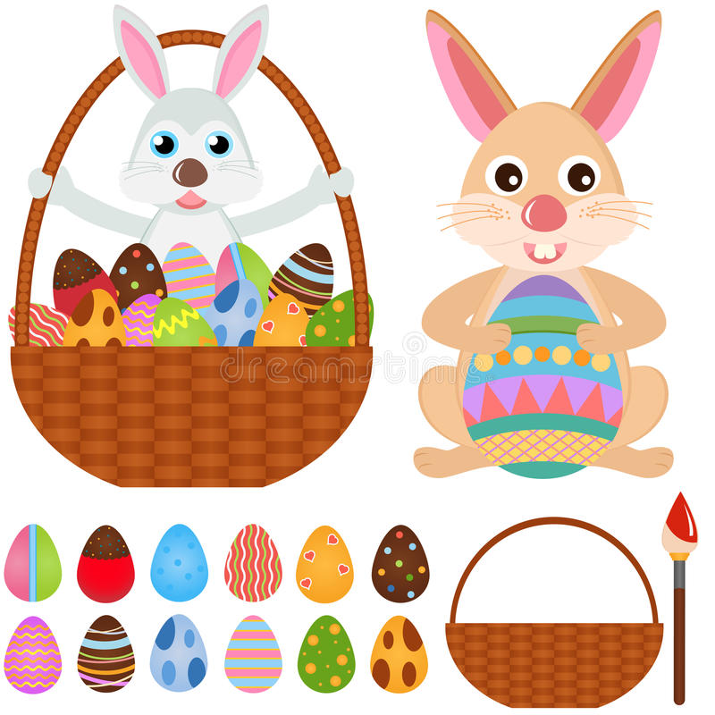 Animal Vector Icons : Rabbit Bunny with Easter Egg royalty free illustration