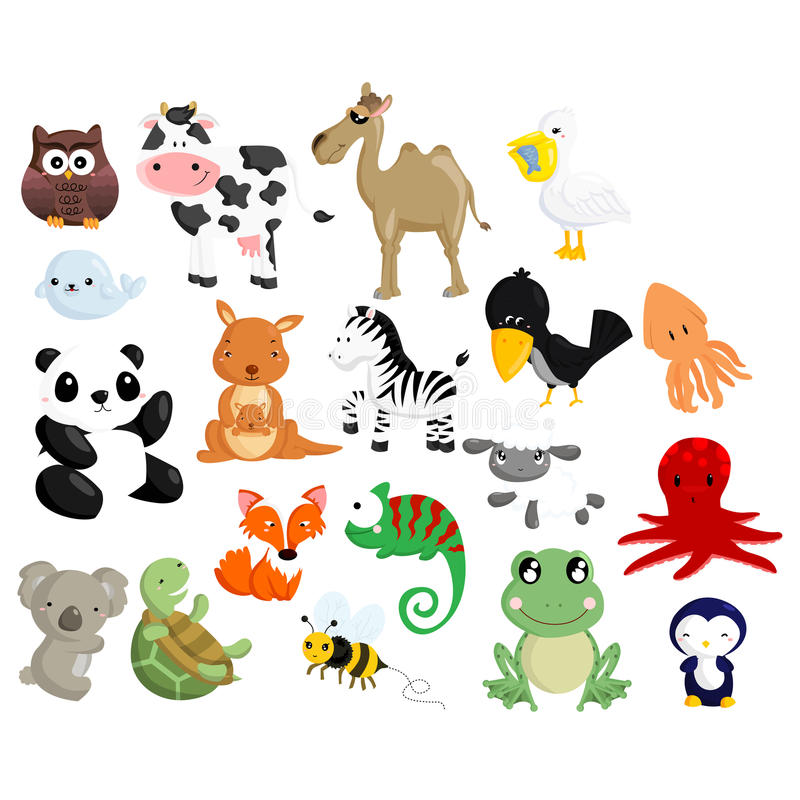 Animal Vector Set 2. Collection of many animal royalty free illustration