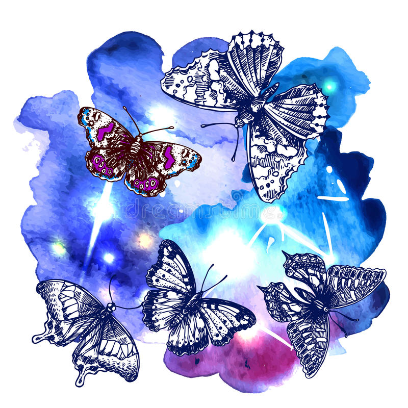 Animal on watercolor space royalty free illustration