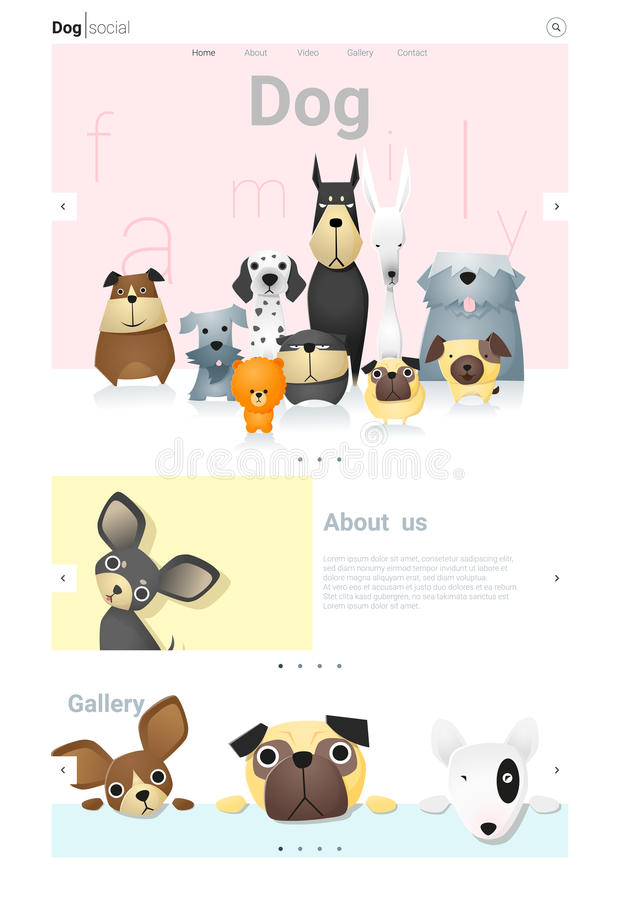 Animal website template banner and infographic with Dog stock illustration