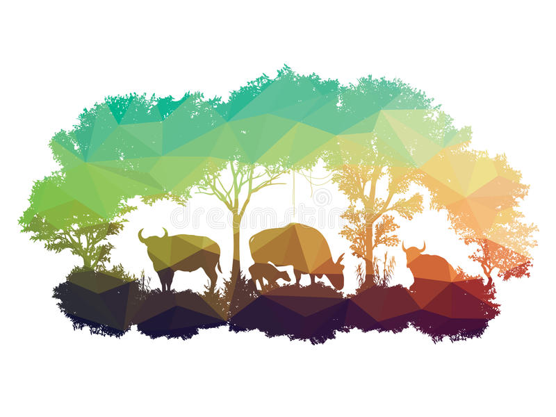 Animal of wildlife is bull or gaur or wild ox ,low poly vector design royalty free illustration