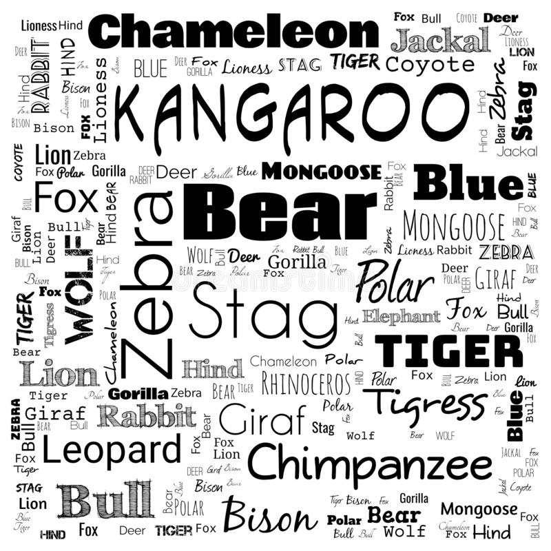 animal word cloud, word cloud use for banner, painting, motivation, web-page, website background, t-shirt & shirt printing, poster royalty free illustration