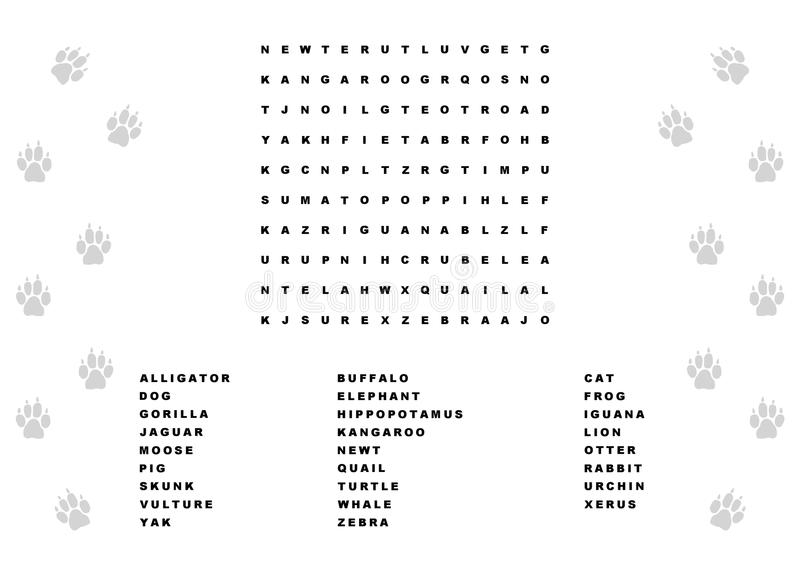 Animal Word Search Stock Illustration. Illustration Of
