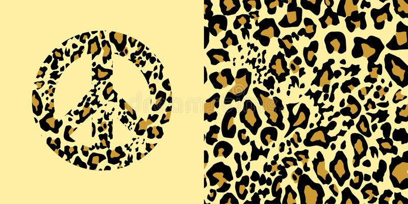 Animal wallpaper and hippie peace symbol with leopard gold print. Fashion design for t-shirt, bag, poster, scrapbook. Animal yellow wallpaper and hippie peace vector illustration