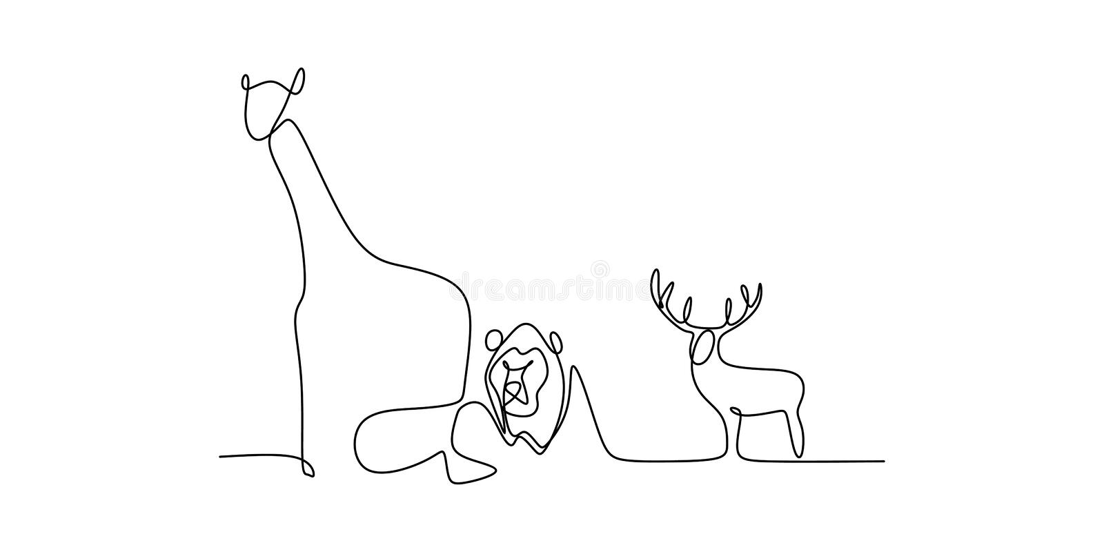 Animal zoo continuous line drawing of elephant, lion, deer, bird, and giraffe vector illustration royalty free illustration