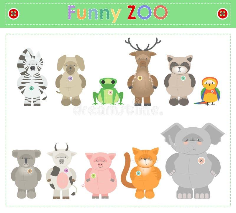 Animal Zoo, part two Funny small plush animals. cartoon Vector vector illustration