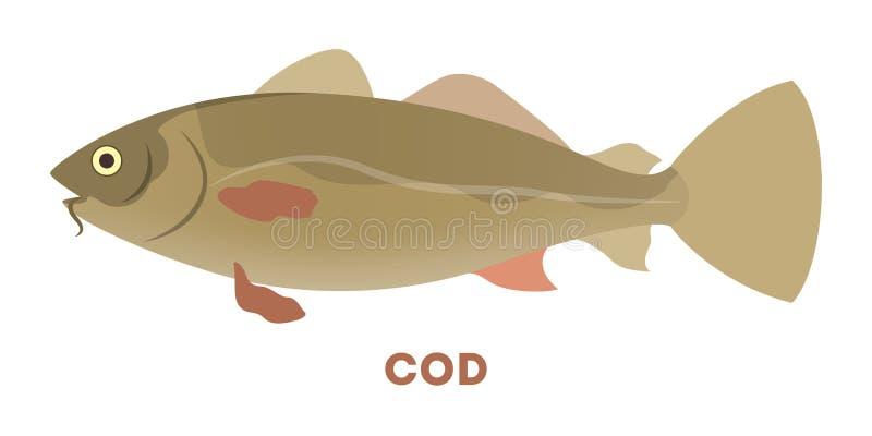 Animale acquatico del merluzzo atlantico Creatura marina illustrazione di stock
