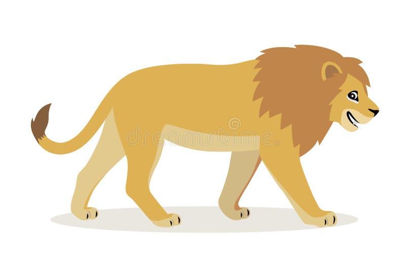 Animale africano, icona divertente sveglia del leone isolata su fondo bianco, grande gatto selvaggio con la criniera lanuginosa,  royalty illustrazione gratis