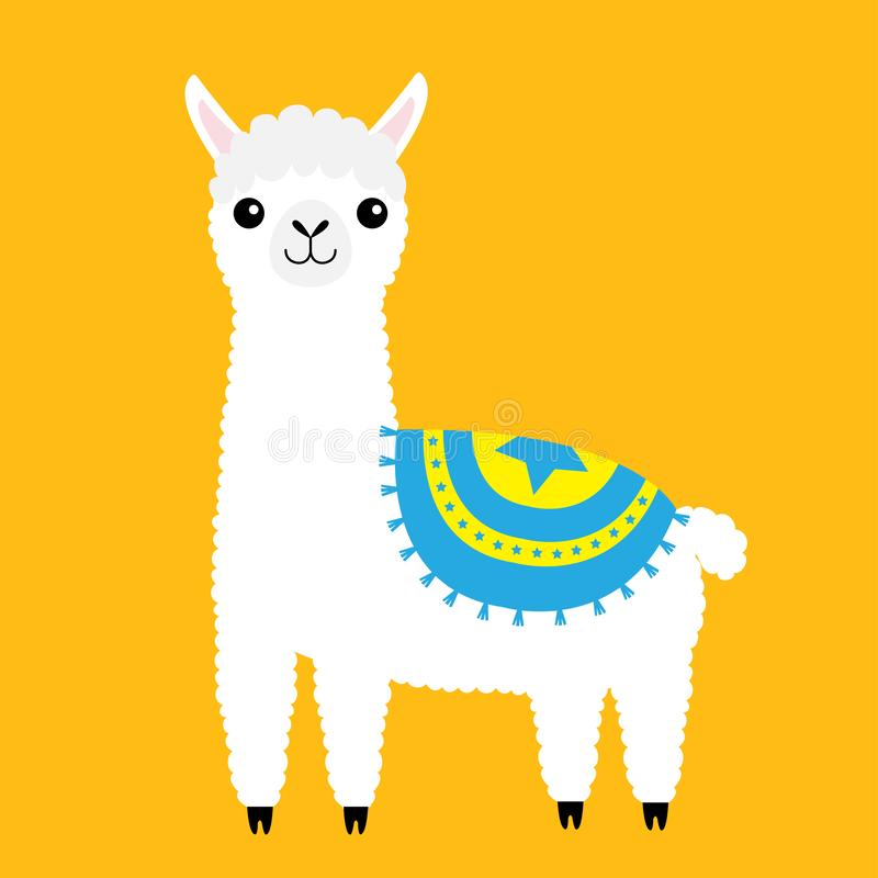 Animale del lama dell'alpaga Carattere divertente di kawaii del fumetto sveglio Pelliccia lanuginosa dei capelli Raccolta puerile illustrazione vettoriale