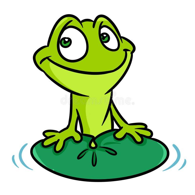 Animale della foglia della ninfea di sorriso della rana verde illustrazione di stock