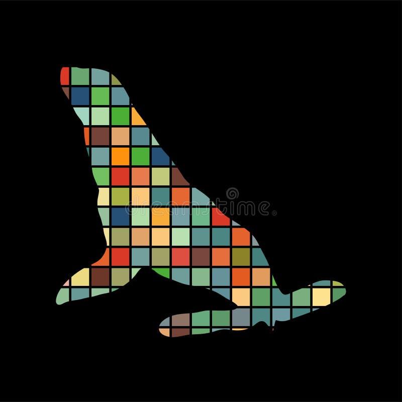 Animale della siluetta di colore di nautica del Phoca illustrazione di stock