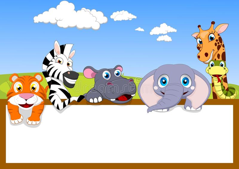 Animale dello zoo con il segno di legno royalty illustrazione gratis