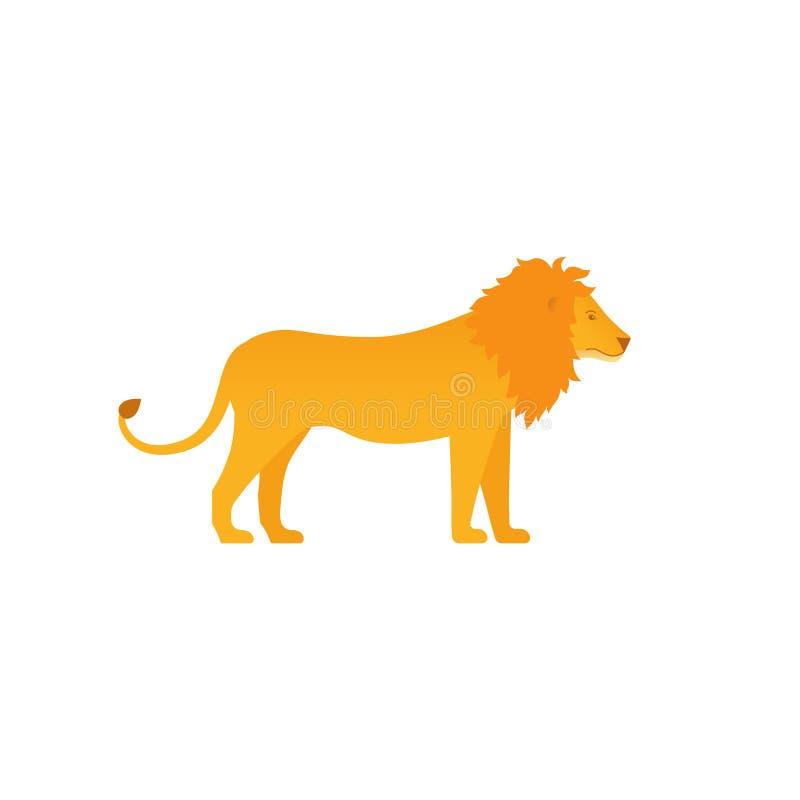 Animale dello zoo del leone nella progettazione piana Illustrazione di vettore royalty illustrazione gratis