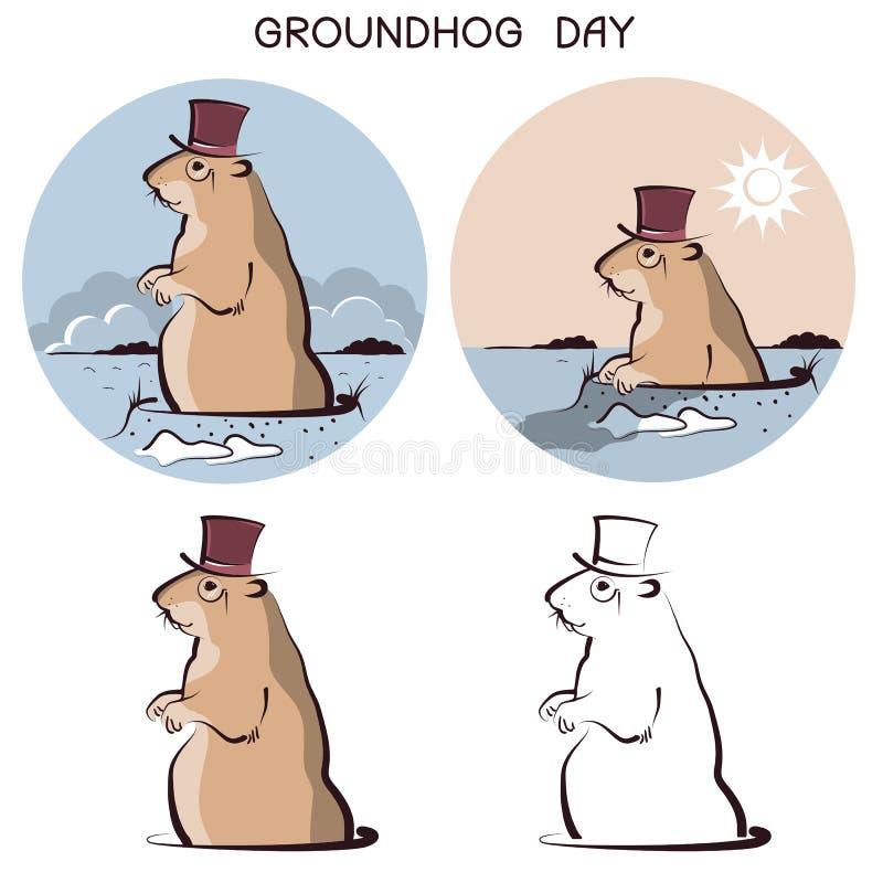 Animale di giorno della marmotta Simbolo di vettore della marmotta su bianco illustrazione vettoriale