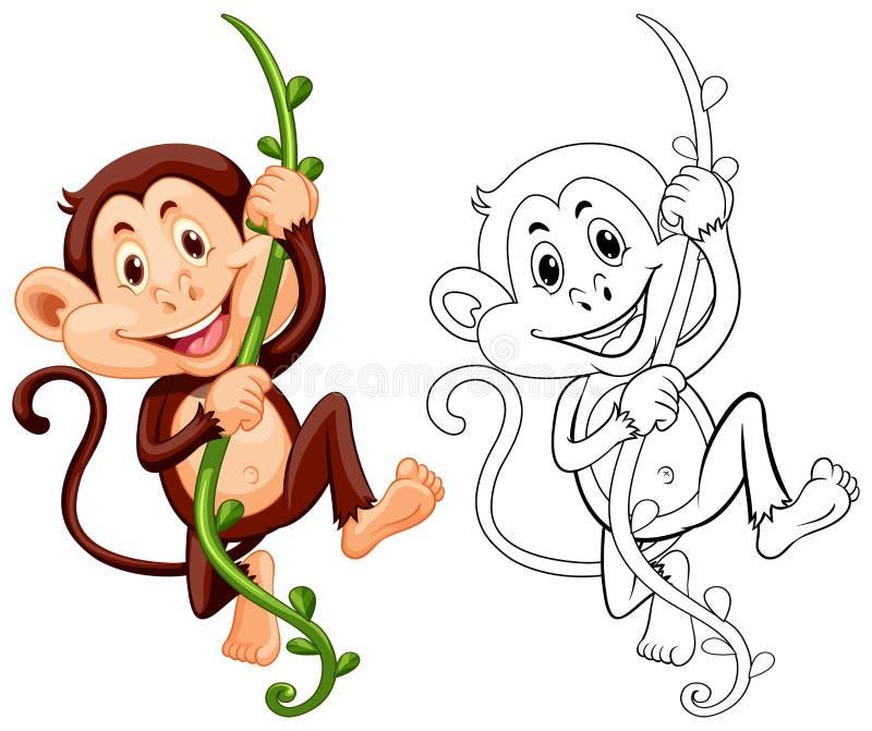 Animale di progettazione per la scimmia sulla vite royalty illustrazione gratis