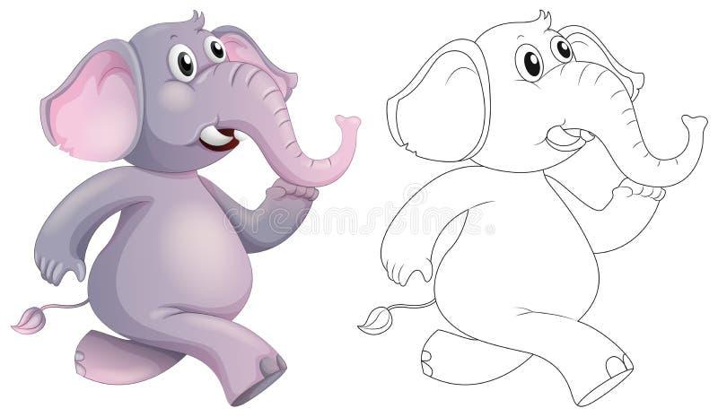 Animale di scarabocchio per l'elefante illustrazione di stock