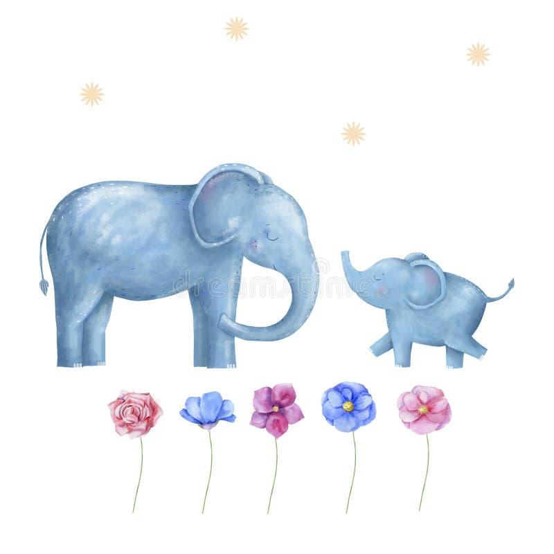 Animale digitale di clipart dell'elefante dell'Africa illustrazione vettoriale