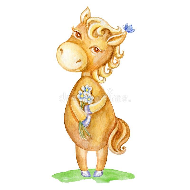 Animale disegnato a mano del fumetto del bambino del cavallo dell'acquerello, puledro sveglio domestico con i fiori che stanno is illustrazione vettoriale