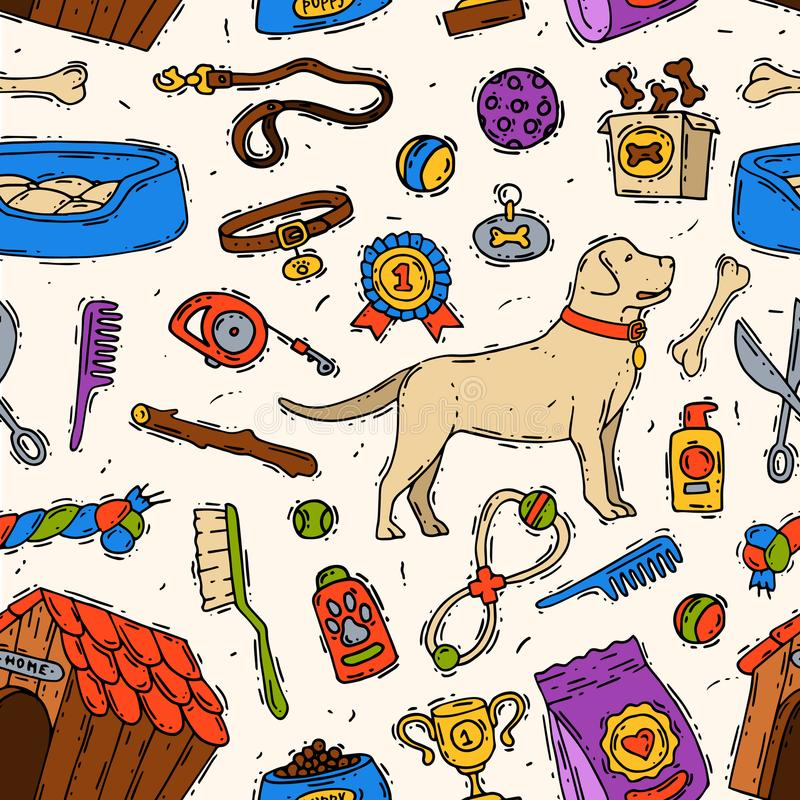 Animale domestico animale canino accessorio del cane di vettore disegnato a mano dell'amico che governa lo strumento veterinario  royalty illustrazione gratis