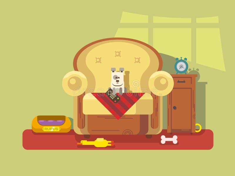 Animale domestico che si siede nella sedia illustrazione di stock