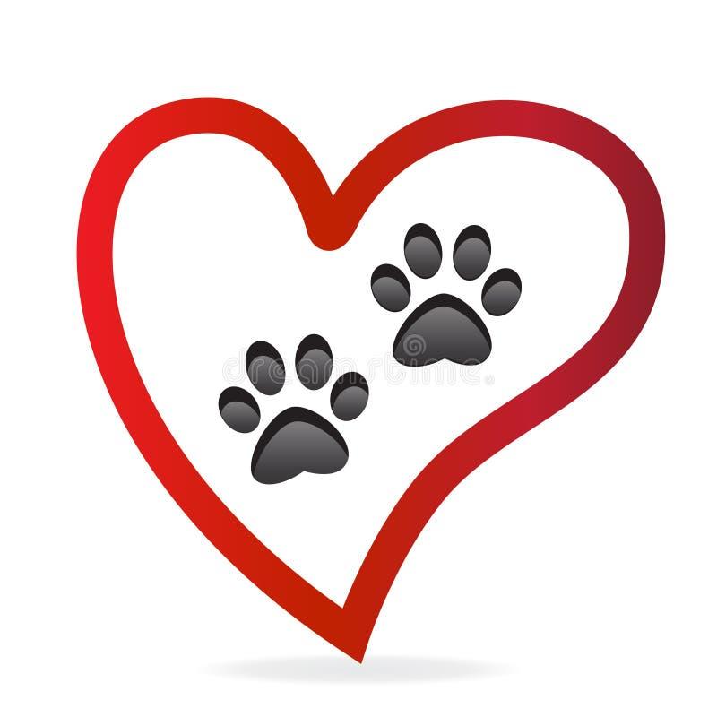 Animale domestico della zampa dentro dell'icona di vettore di logo del cuore di amore La zampa stampa le paia illustrazione vettoriale