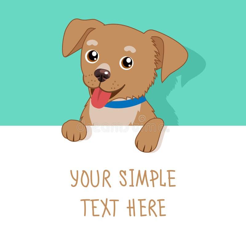 Animale domestico piacevole Cane sveglio di vettore che tiene un bordo, una carta o un'insegna in bianco bianca Cucciolo del fume illustrazione vettoriale
