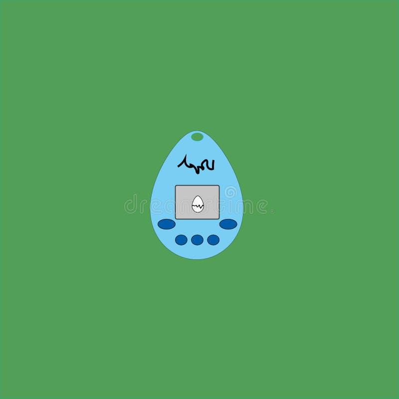 Animale domestico virtuale, giocattolo, retro, uovo con una sorpresa illustrazione di stock