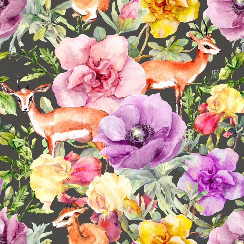 Animale e fiori dell'antilope Modello di ripetizione ditsy d'annata Colore di acqua illustrazione vettoriale