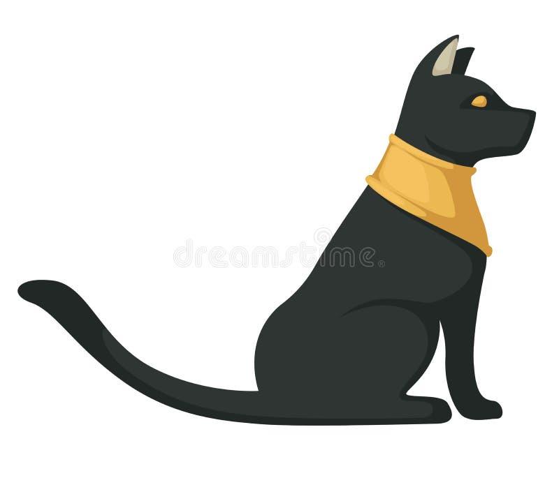 Animale isolato simbolo religioso antico egiziano del gatto nero illustrazione vettoriale