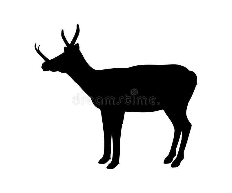 Animale mammifero estinto della siluetta di Synthetoceras illustrazione di stock