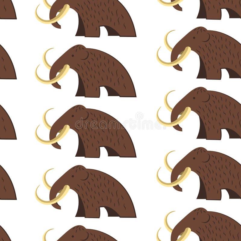 Animale mastodontico con il modello senza cuciture delle zanne e della pelliccia royalty illustrazione gratis