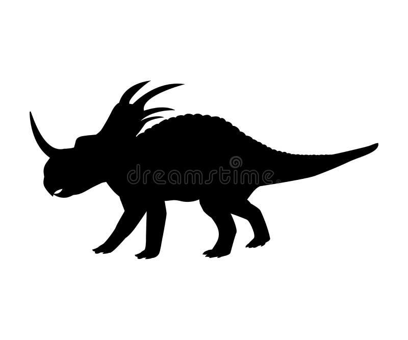 Animale preistorico giurassico del dinosauro della siluetta dello Styracosaurus illustrazione vettoriale
