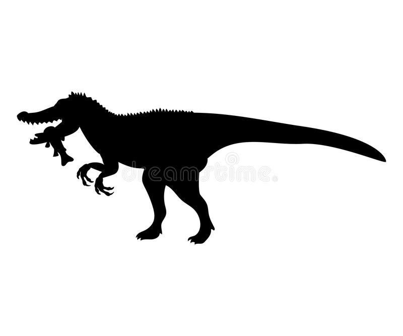 Animale preistorico giurassico del dinosauro della siluetta di Baryonyx illustrazione di stock