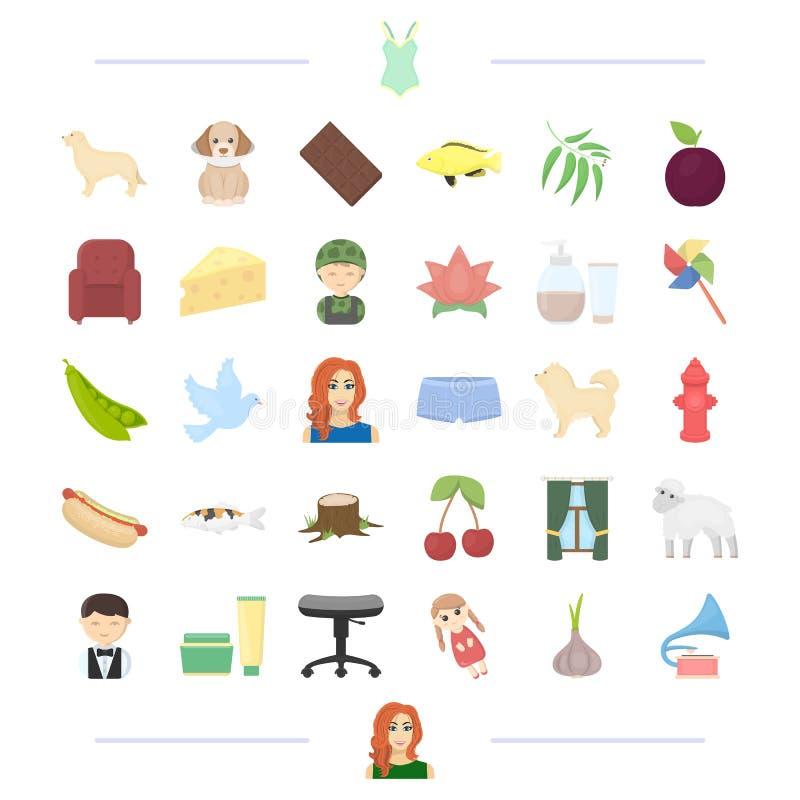 Animale, professione, alimento e l'altra icona di web nello stile del fumetto aspetto, cosmetici, icone dell'abbigliamento nella  illustrazione vettoriale