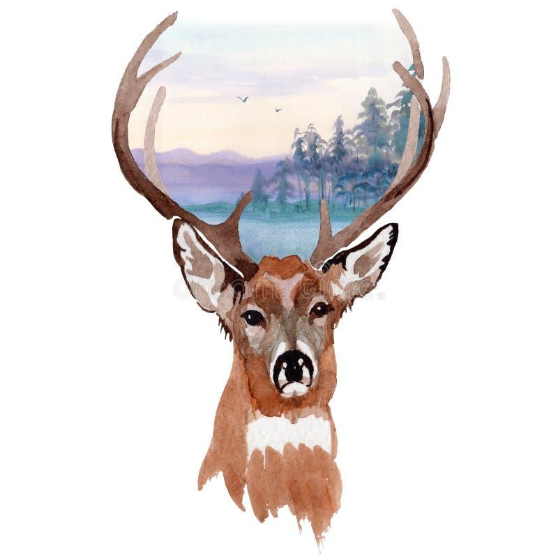 Animale selvatico della renna in uno stile dell'acquerello isolato illustrazione vettoriale