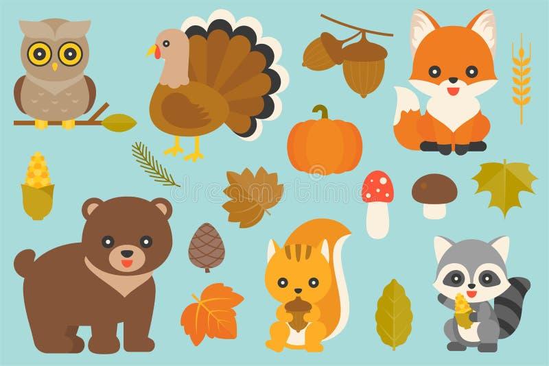 Animale selvatico ed elementi illustrazione vettoriale