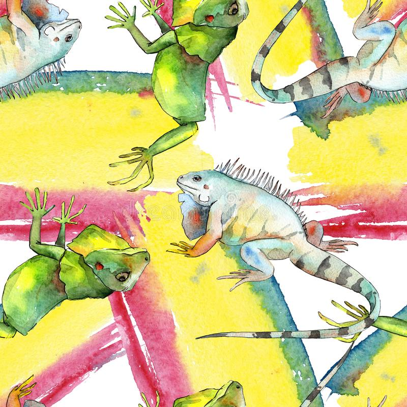 Animale selvatico esotico dell'iguana Insieme dell'illustrazione del fondo dell'acquerello Modello senza cuciture del fondo illustrazione di stock