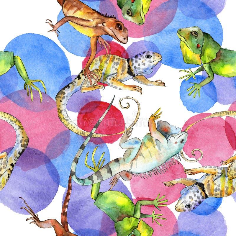 Animale selvatico esotico dell'iguana Insieme dell'illustrazione del fondo dell'acquerello Modello senza cuciture del fondo royalty illustrazione gratis