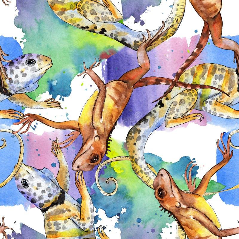Animale selvatico esotico dell'iguana Insieme dell'illustrazione del fondo dell'acquerello Modello senza cuciture del fondo illustrazione vettoriale