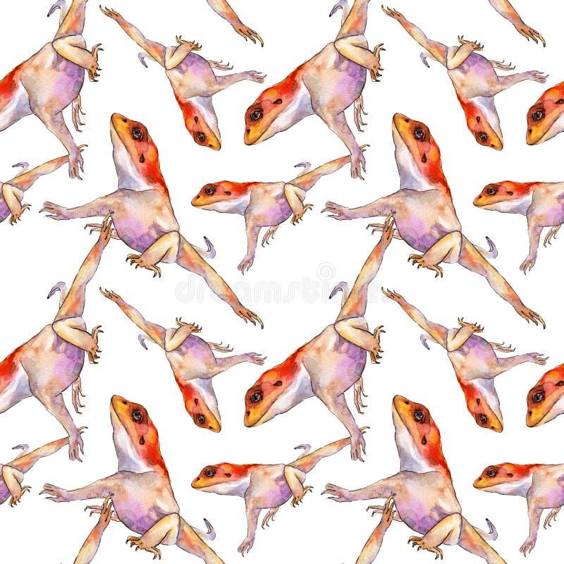 Animale selvatico esotico dell'iguana Insieme dell'illustrazione del fondo dell'acquerello Reticolo senza giunte Struttura della  royalty illustrazione gratis