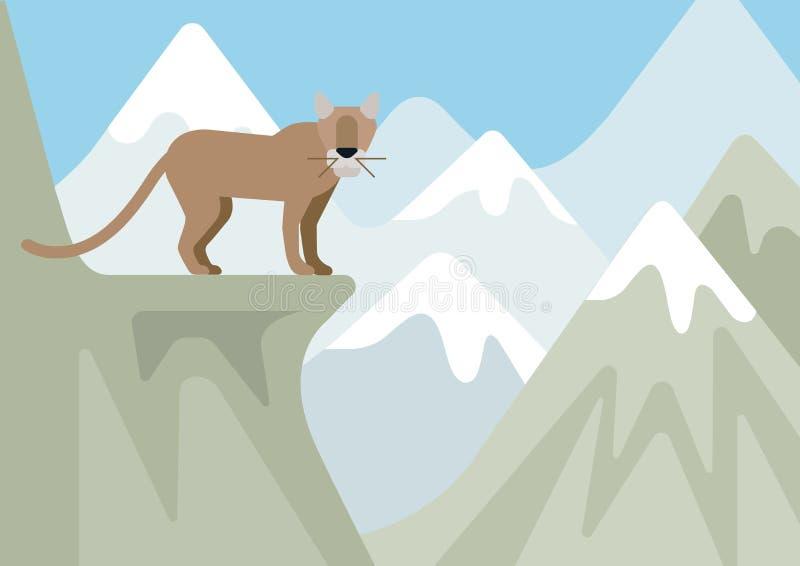 Animale selvatico piano del fumetto della montagna di inverno del gatto selvatico del lince del puma illustrazione vettoriale
