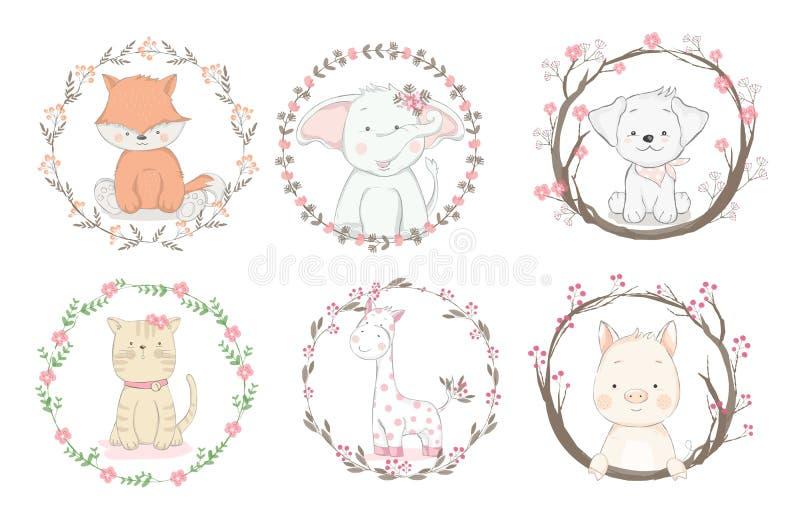 Animale sveglio del bambino con stile disegnato a mano del fumetto del confine del fiore, per la stampa, carta, maglietta, insegn royalty illustrazione gratis