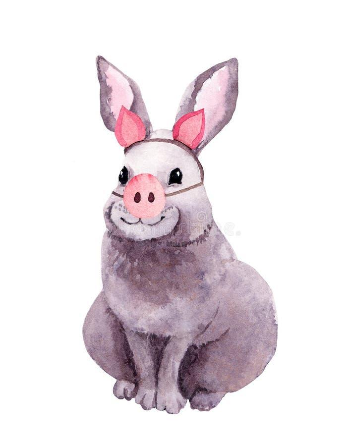 Animale sveglio del coniglio in costume di porcellino con il naso del maiale Disegno di divertimento per il nuovo anno watercolor illustrazione vettoriale