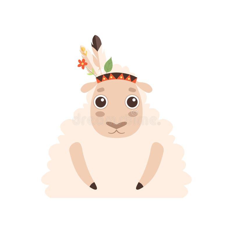 Animale sveglio dell'agnello che indossa copricapo tribale tradizionale indiano con l'illustrazione di vettore delle piume, delle illustrazione di stock