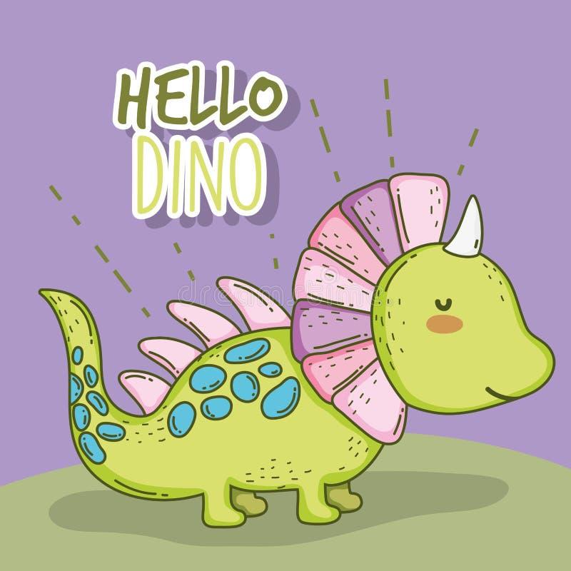 Animale sveglio di Dino della fauna selvatica dello styracosaurus royalty illustrazione gratis