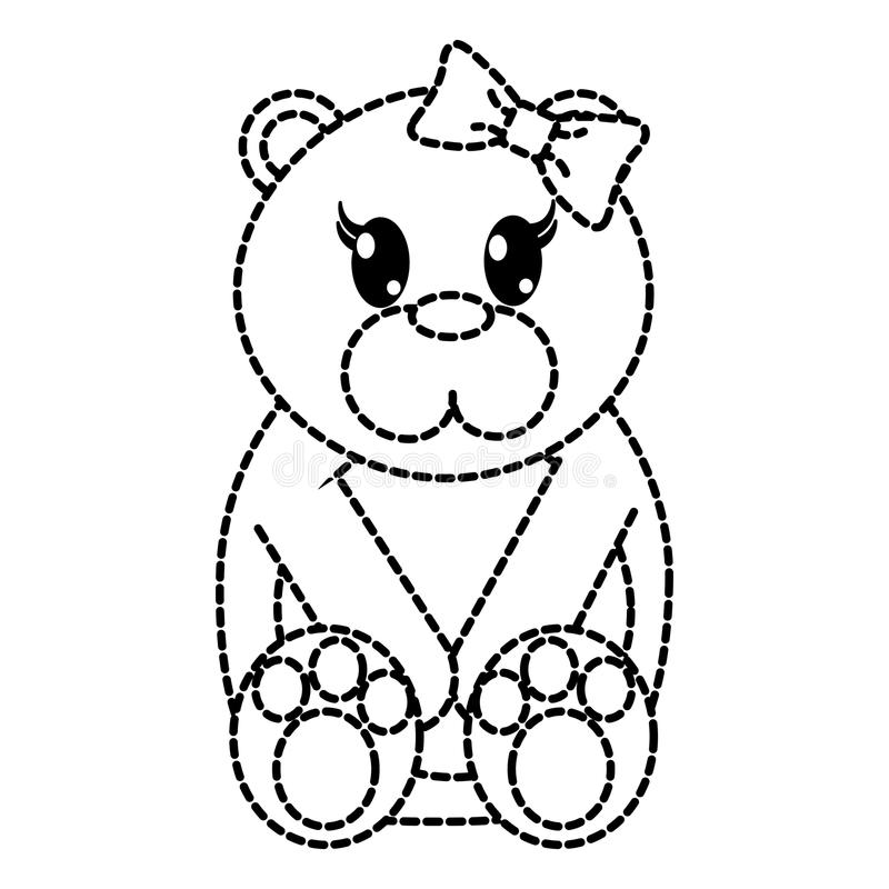 Animale sveglio punteggiato dell'orso femminile di forma con l'arco del nastro illustrazione di stock