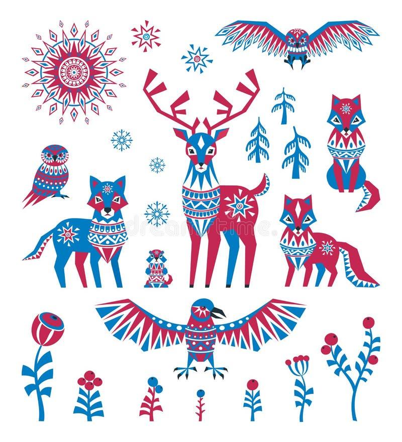 Animales árticos fijados en estilo étnico stock de ilustración