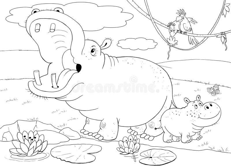 Animales africanos Cocodrilos lindos Ilustración para los niños foto de archivo libre de regalías